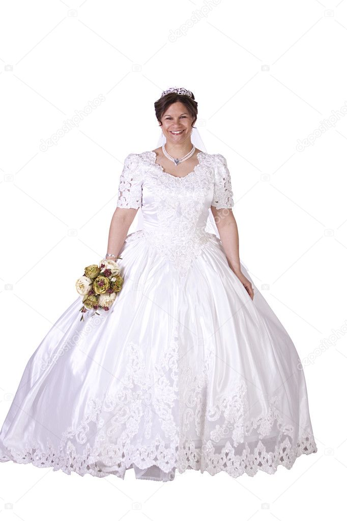hispanische Braut in weiß Couture Hochzeitskleid — Stockfoto ...