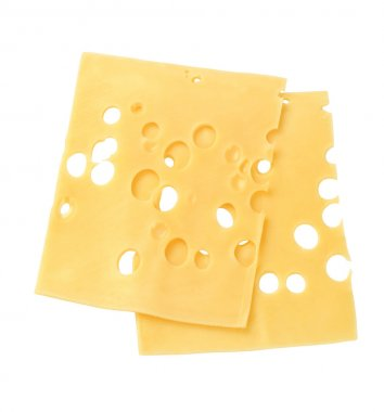 Thin slices of Swiss cheese - studio stock vector