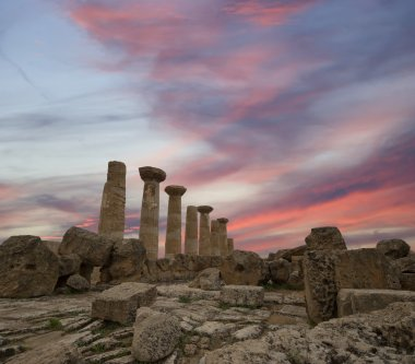 Remains of an ancient Greek temple of Heracles, Agrigento, Sicily