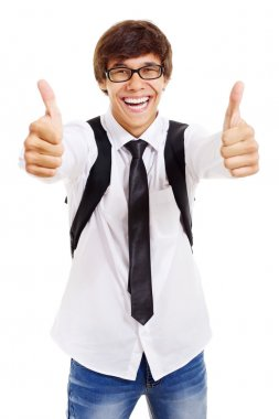 Happy student shows thumb up