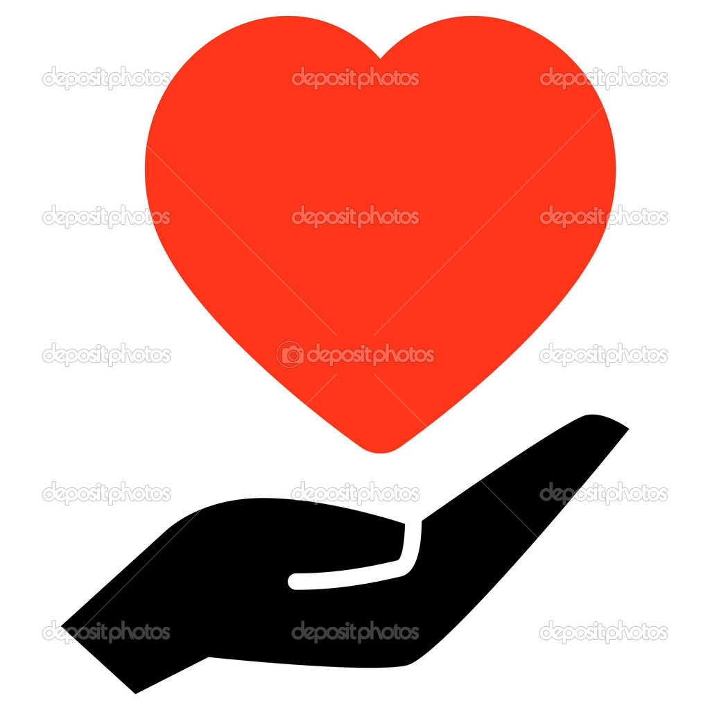 red heart on hand stock vector furtaev 10551503 rh depositphotos com heart icon vector illustrator heart icon vector free download