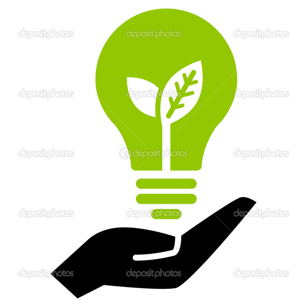 Green ecology bulb on hand