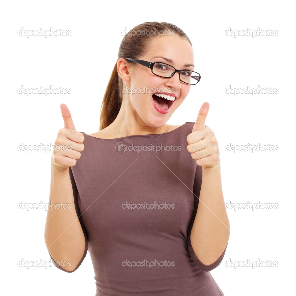 Joyful young woman showing OK sign