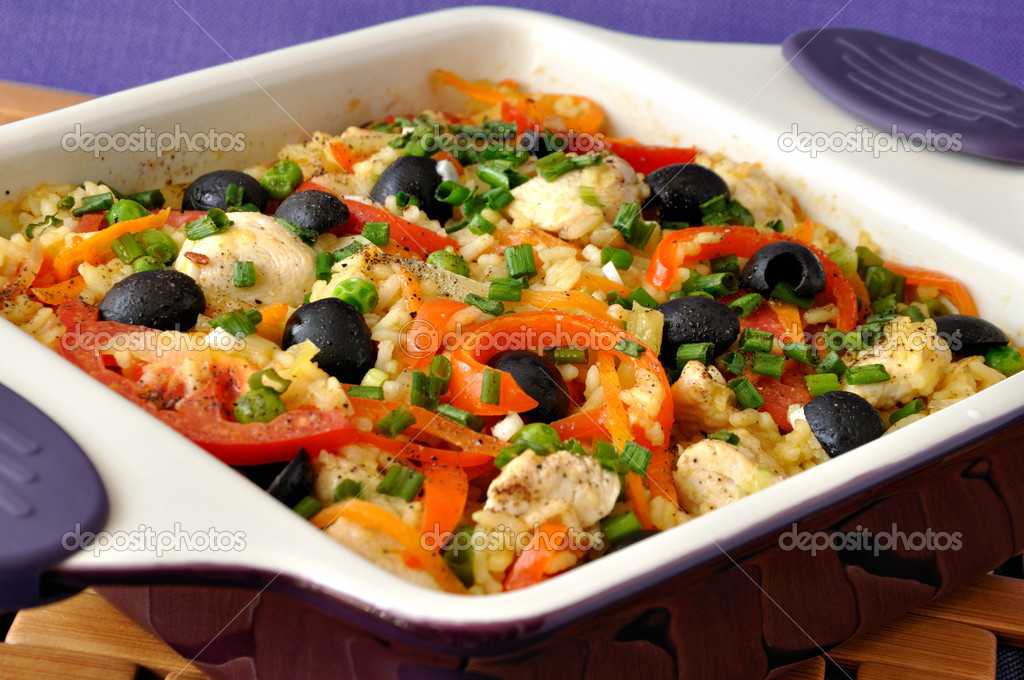 baked rice with chicken vegetables and olives in a saucepan stock photo apolonia 8412473. Black Bedroom Furniture Sets. Home Design Ideas