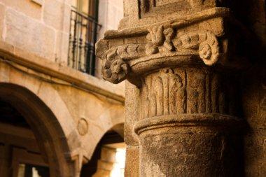 Medieval column. Street of Santiago de Compostela