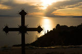 Fotografia Croce al tramonto sul Monte athos, Grecia