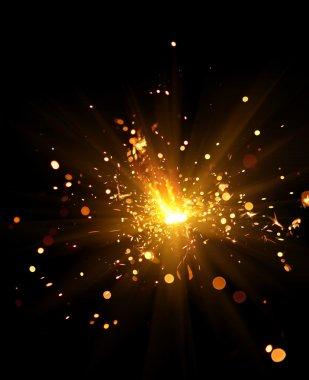 Closeup view of burning sparkler stock vector