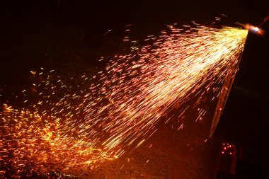Metal welding sparks