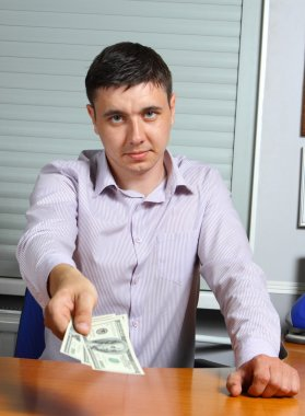 Man offering money