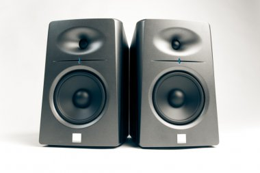 Studio audio monitors isolated on white
