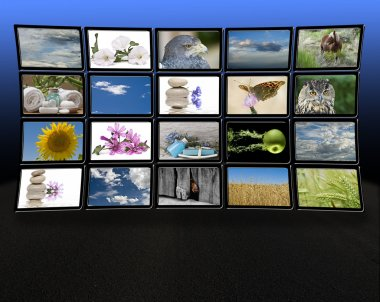 Monitors with relaxing images.