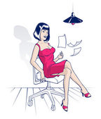 Photo Young woman sitting in an office chair and scatters sheets