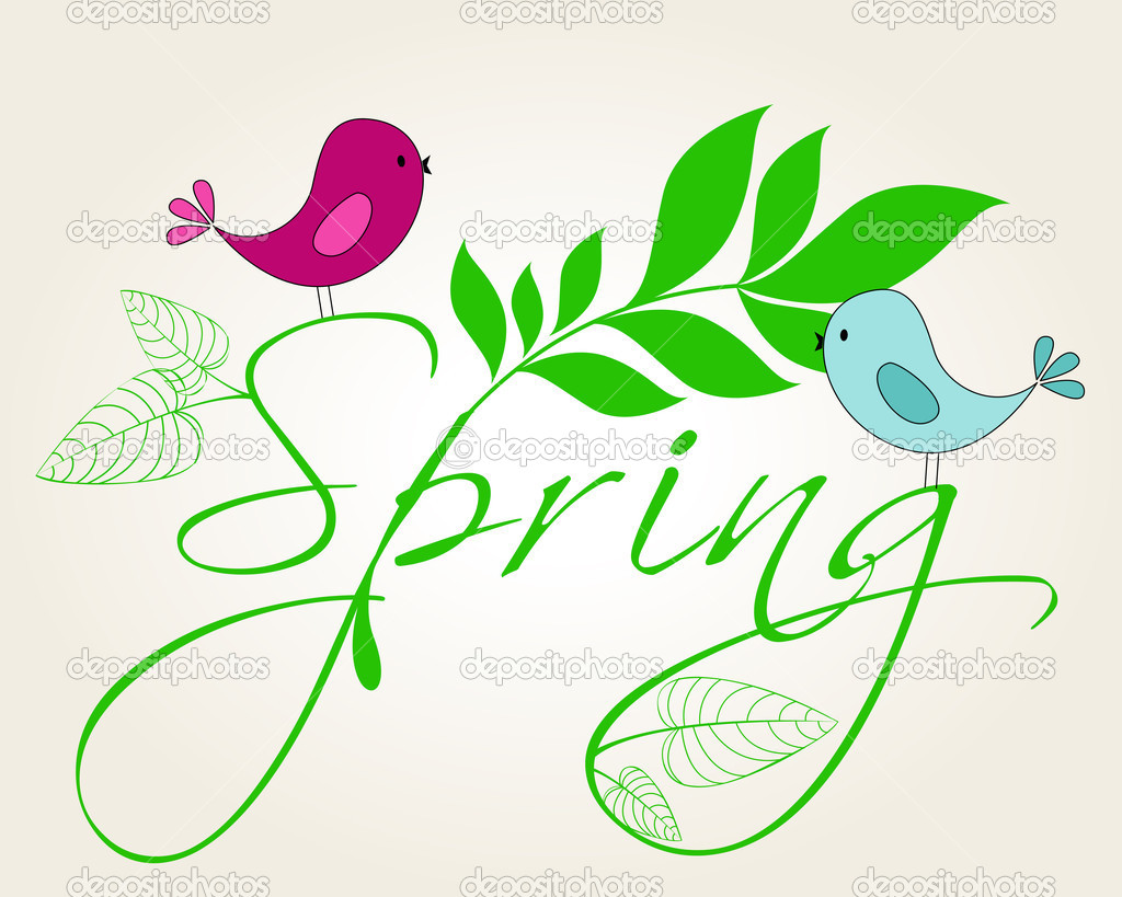 Cute spring birds illustration