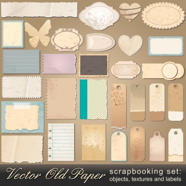 Vector large scrapbooking set of old, vintage paper objects, textures and labels illustrations clip art vector