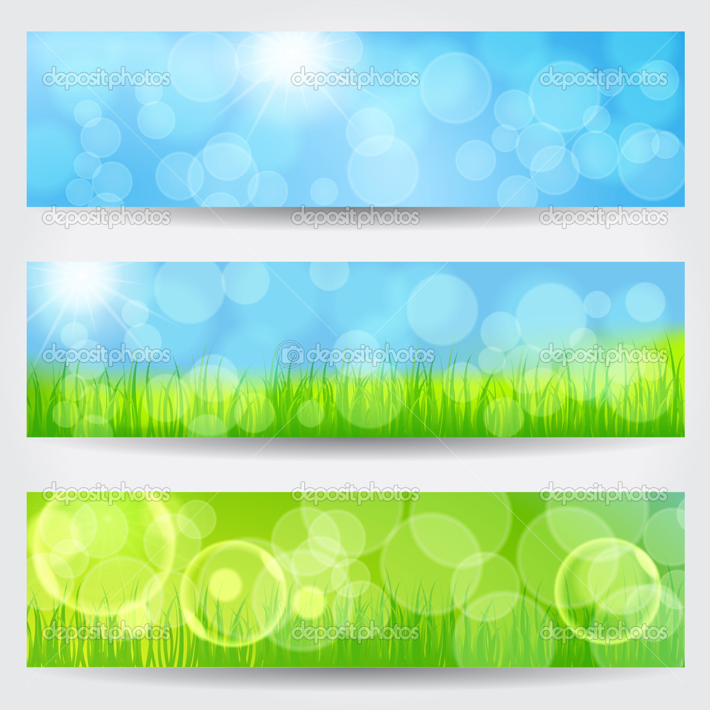Beautiful soft bokeh nature banner set