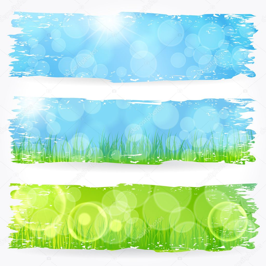 Beautiful soft bokeh painted nature banner set