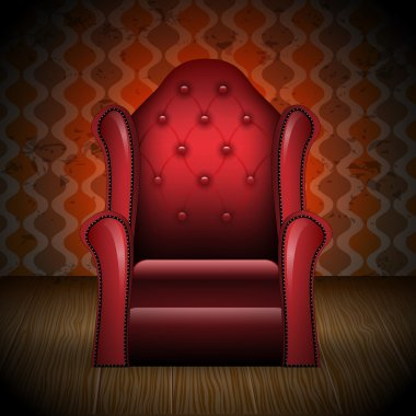 Illustration of vintage armchair in room