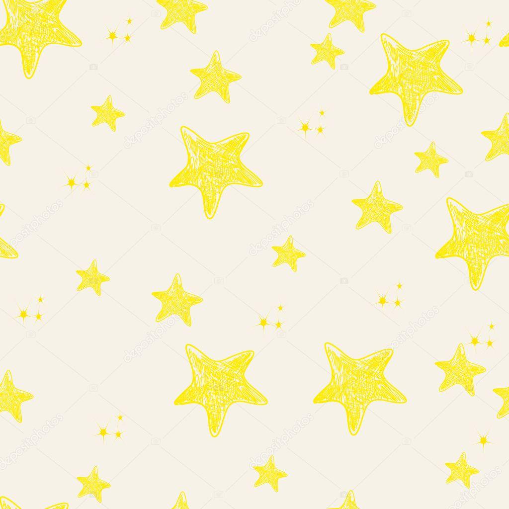 シームレスなのかわいい星背景イラスト — ストックベクター