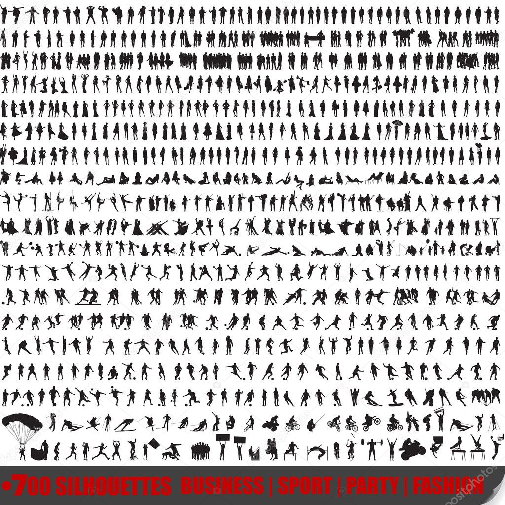 Vector huge set of 700 very detailed silhouettes stock vector