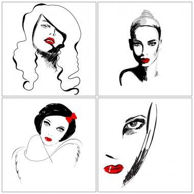 Set of beautiful hand drawn style elegant woman portraits