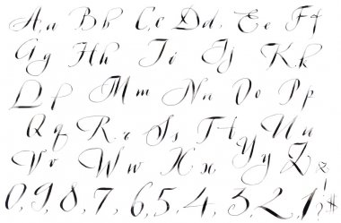 Calligraphy hand-written Alphabet