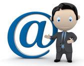 Fotografie Mailen Sie mir. Soziale 3D-Charaktere: Geschäftsmann im Anzug auf das e-Mail-Zeichen zeigen. Neue ständig wachsende Sammlung von expressiven einzigartige Mehrzweck-Bilder. Konzept für E-mail-illustration