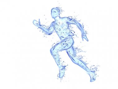 Running man liquid artwork - Athlete figure in motion made of water with falling drops