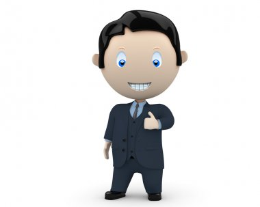 I like it! Social 3D characters: happy smiling businessman in suit showing big finger. New constantly growing collection of expressive unique multiuse images. Concept for social like illustrati