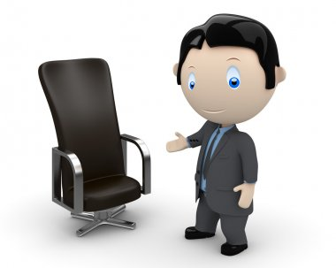 Welcome to your new place of work. Social 3D characters: businessman pointing at leather office chair. New constantly growing collection of expressive unique multiuse images. Concept for career illustration. Isolated. stock vector