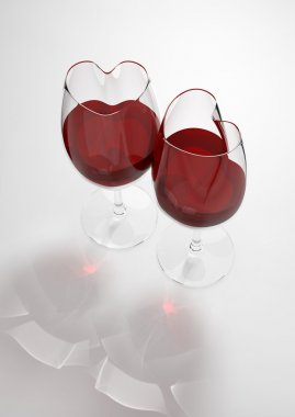 Heart shaped wine glasses filled with love poison (love, valentine day series, 3d isolated objects)