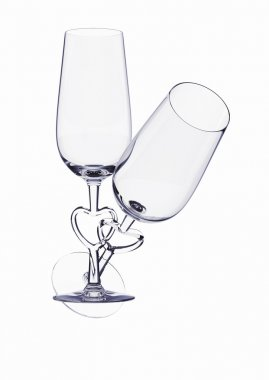 Couple champagne glasses with heart stem (love, valentine day series, 3d isolated characters)