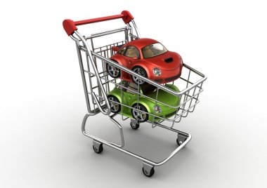 Red and green cars in shopping cart (funny micromachines series)
