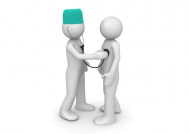 Doctor and patient (3d isolated characters on white background,