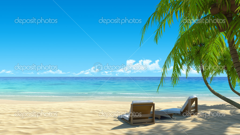 Two beach chairs on idyllic tropical white sand beach. Shadow from the palm trees. No noise, clean, extremely detailed 3d render. Concept for holidays, spa, resort design.