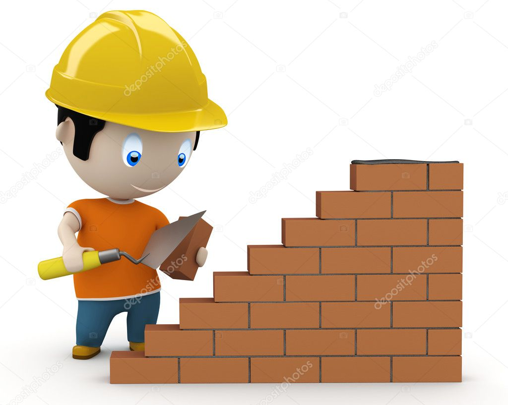 Under construction! Social 3D characters: man using trowel to place the brick. New constantly growing collection of expressive unique multiuse images. Concept for construction process illustrat