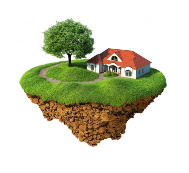 Little fine island - planet. A piece of land in the air. Lawn with house and tree. Pathway in the grass. Detailed ground in the base