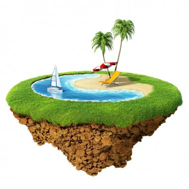 Personal resort on little planet. Concept for travel, holiday, hotel, spa, resort design