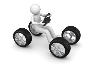 Man driving imaginary car