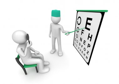 Healthcare collection - Oculist examining patient's sight