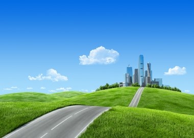 Very detailed 7000px city on horizon