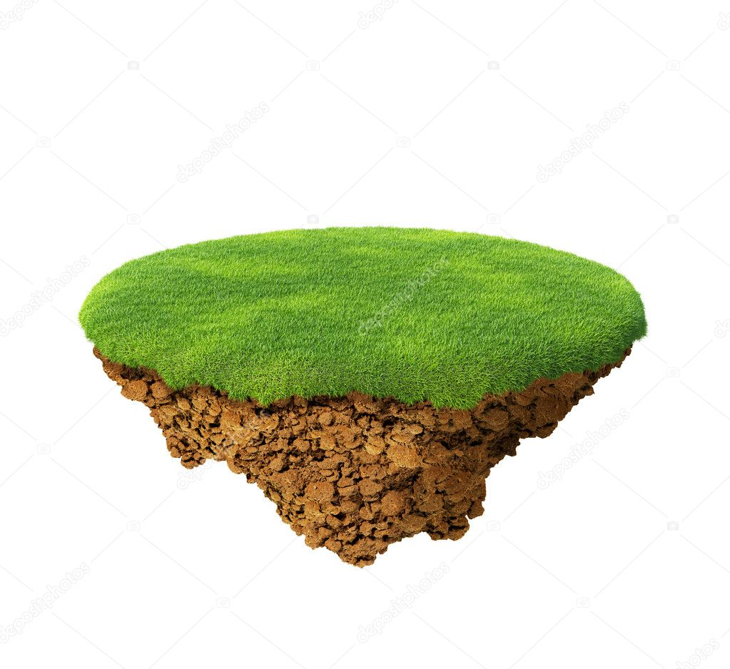 Little fine island - planet. A piece of land in the air. Empty lawn. Detailed ground in the base. To use as background for your concept