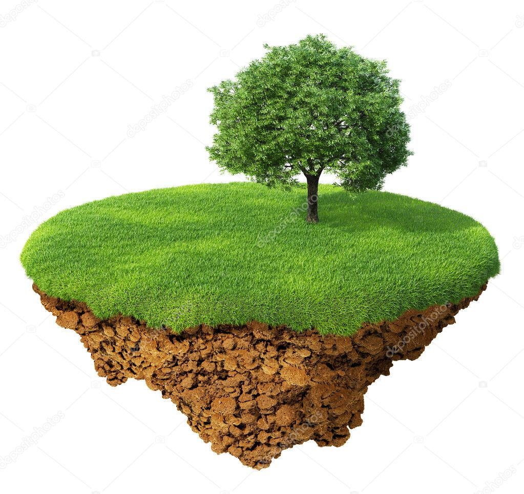 Little fine island - planet. A piece of land in the air. Lawn with a tree. Detailed ground in the base