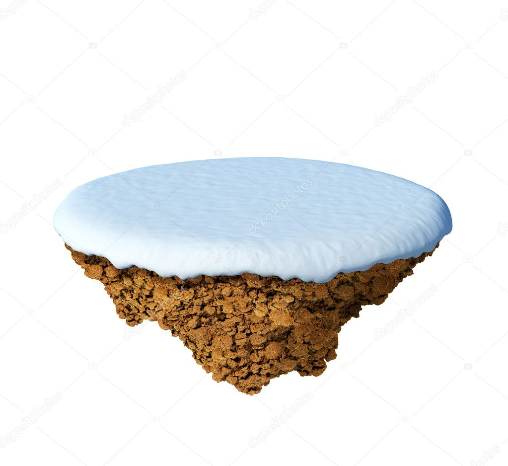 Little snowy island - planet. A piece of land in the air. Empty snowy field. Detailed ground in the base