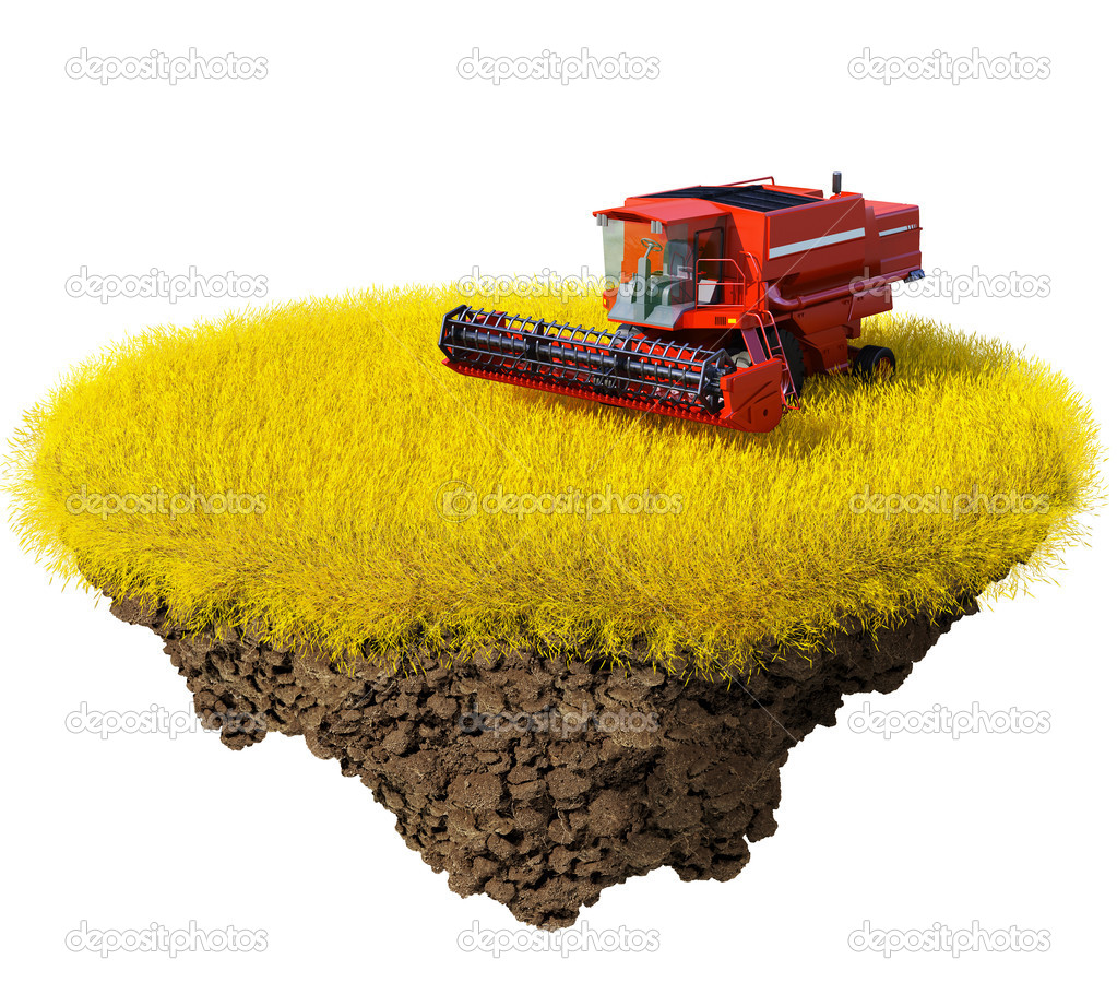 Agriculture: harvesting grain field on the little magic planet. Piece of land in the air. Concept of success and happiness, agriculture, idyllic ecological lifestyle. One of a series