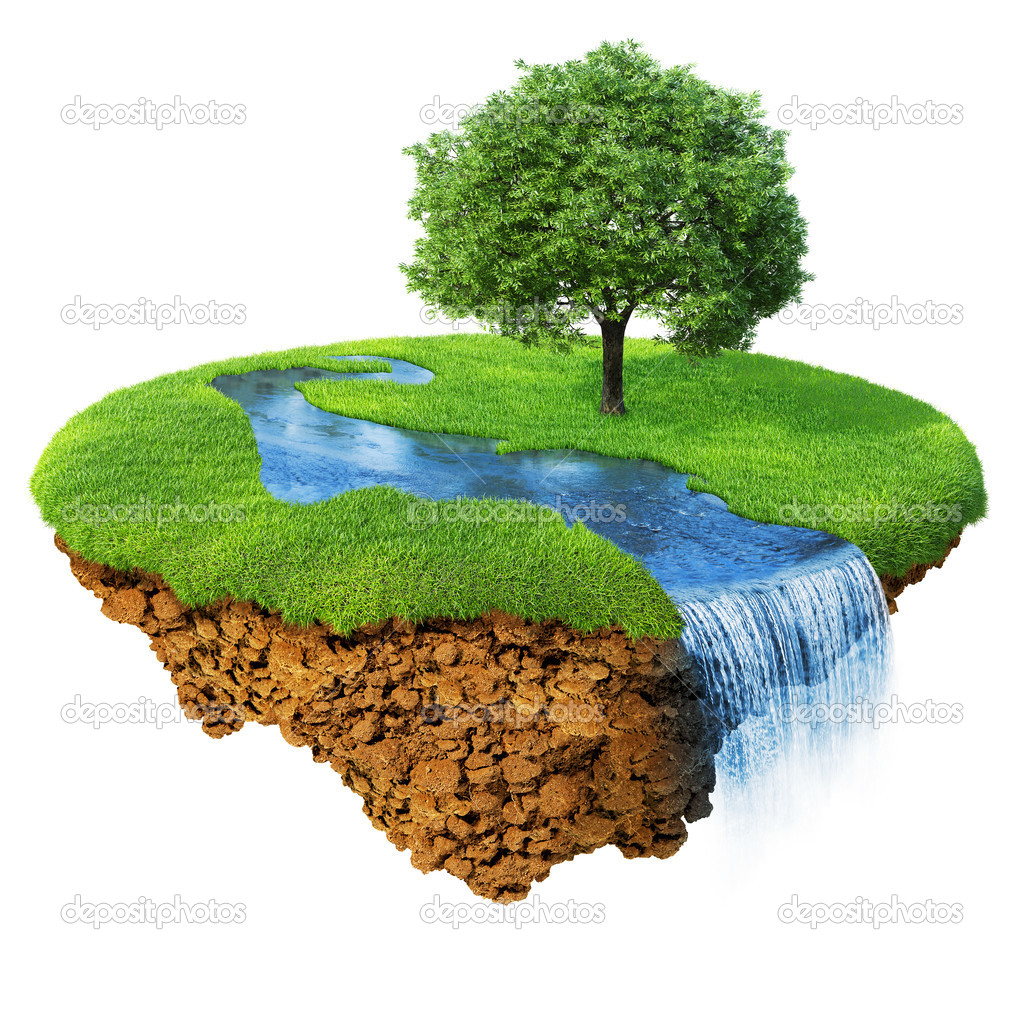 Idyllic natural landscape. Lawn with river, waterfall and one tree. Fancy island in the air isolated. Detailed ground in the base. Concept of success and happiness, idyllic ecological lifestyle. Serie