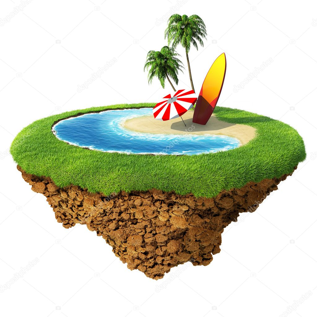 Surf on little planet. Concept for travel, holiday, hotel, spa, resort design. Tiny island - planet collection.