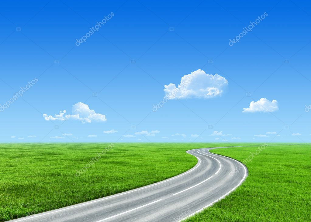 Very detailed 7000px road over grass field - nature collection