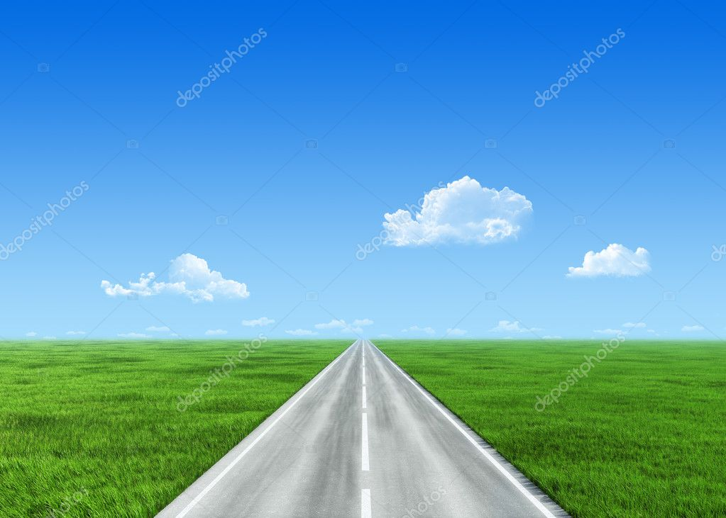 Very detailed 7000px road over field - nature collection
