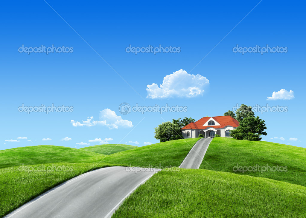 Very detailed 6000px house on green meadow - Nature ...
