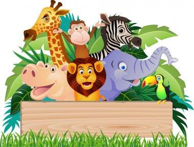 Animal cartoon and signboard